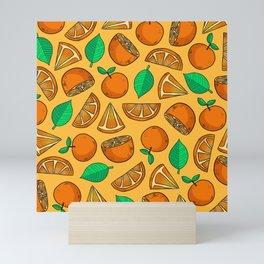 Kawaii Oranges on Orange Mini Art Print