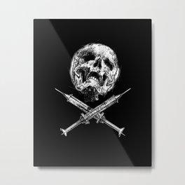 Skull and Syringes Metal Print