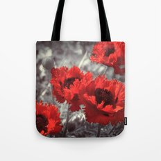 Big Red Watercolor Poppies on Grey Background Tote Bag