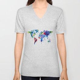 World Map, colorful Unisex V-Neck