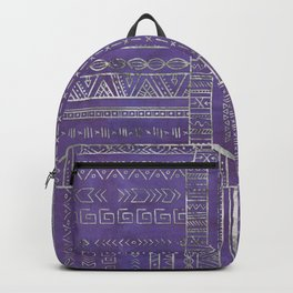 Tribal Ethnic pattern silver on  purple Backpack