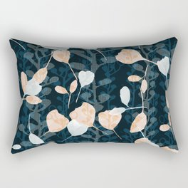 Berry Vine Print Teal and Peach Rectangular Pillow