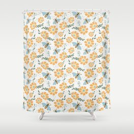 Honey Bees and Orange Flowers Shower Curtain