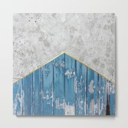 Concrete Arrow Blue Wood #347 Metal Print