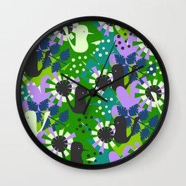Funny birds and spring vegetation Wall Clock