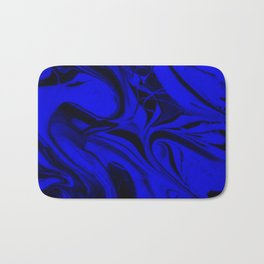 Black and Blue Swirl - Abstract, blue and black mixed paint pattern texture Bath Mat
