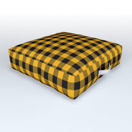 Original Goldenrod Yellow and Black Rustic Cowboy Cabin Buffalo Check Outdoor Floor Cushion