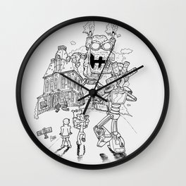 Mysterious machines lineart Wall Clock