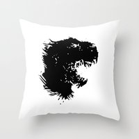 t rex Throw Pillows featuring t-rex by barmalisiRTB