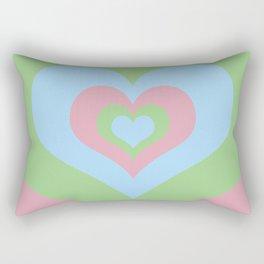 Radiating Hearts Pink, Blue, and Green Rectangular Pillow