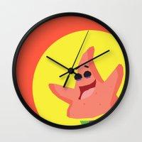 patrick Wall Clocks featuring Patrick Star by Eyetoheart