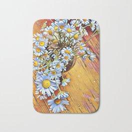 White Daisies Yellow Floor by CheyAnne Sexton Bath Mat