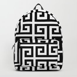 Large Black and White Greek Key Pattern Backpack