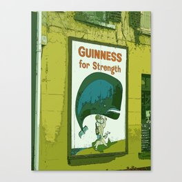 Guinness beer art print - 'Guinness for strength' vintage sign in green - vintage beer poster Canvas Print