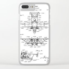 Seaplane Patent - Biwing Seaplane Art - Black And White Clear iPhone Case