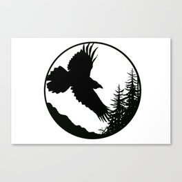 Raven & Forest circular silhouette Canvas Print