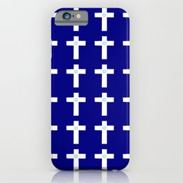 Christian Cross 53– blue with star of david iPhone Case