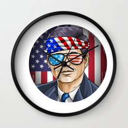 John Kennedy President on 4th Of July Wall Clock