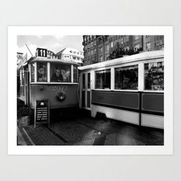 Cafe in the tram in the historical part of Prague. Art Print