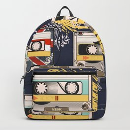 Fashion hipster pattern with cassette on shabby background Backpack