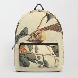 Vintage brown ivory bird floral tree branch Backpack