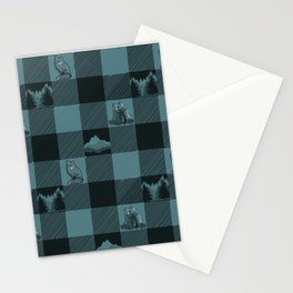 Fox and Bear Plaid #3 BLUE Stationery Cards