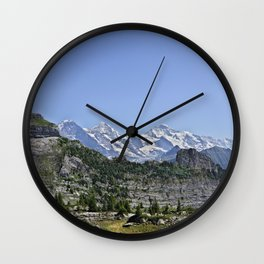 Idyllic Mountain Panorama jungfrau region Wall Clock