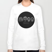 bastille Long Sleeve T-shirts featuring Bastille Skulls by wellsi