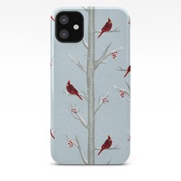 Red Cardinal Bird In The Winter Forest iPhone Case