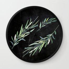 Eucalyptus leaves on chalkboard Wall Clock
