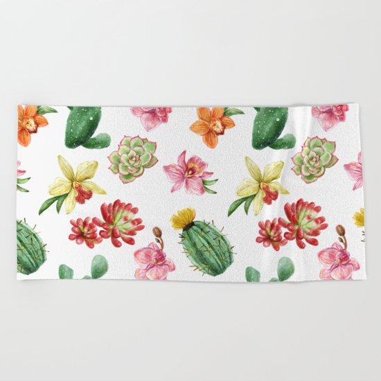 Watercolor Cacti Pattern Beach Towel