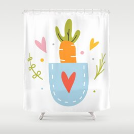 Cute carrot in a pocket Shower Curtain