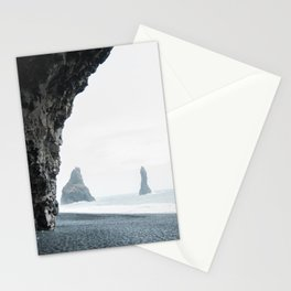 Sea and Monoliths From a Cave at Black Sand Beach | Pastel travel photography | wall art print Iceland Stationery Cards