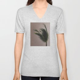 Nude Beach - A photograph of a palm tree against a peach sky Unisex V-Neck