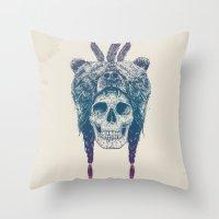 dead Throw Pillows featuring Dead shaman by Balazs Solti