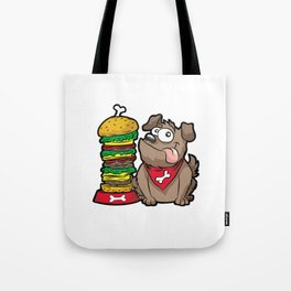 HAPPY DOG WITH HAMBURGER Fastfood Puppy Doggie Tote Bag
