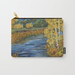 Autumn in the Mountains, Fall Decor, Aspen Birch Tree Painting Carry-All Pouch