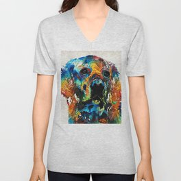 Colorful Dog Art - Heart And Soul - By Sharon Cummings Unisex V-Neck