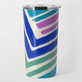 Color Lines Connections / Abstract Brushstrokes Pattern Travel Mug