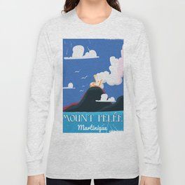 Mount Pelée Martinique  Vintage Travel poster. Long Sleeve T-shirt