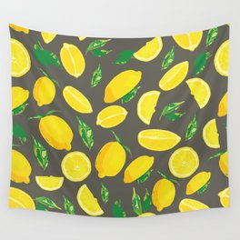 Lemon Citrus Pop Moody Wall Tapestry
