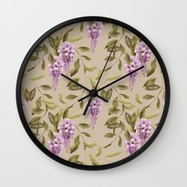 Seamless floral retro pattern background flowers Wall Clock