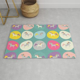 Cute Unicorn polka dots teal pastel colors and linen texture #homedecor #apparel #stationary #kids Rug