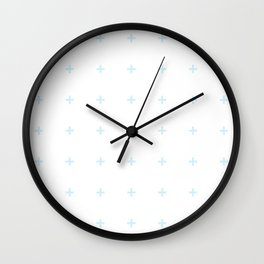 PLUS ((baby blue on white)) Wall Clock