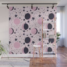 Moon and Stars in pink and blue Wall Mural