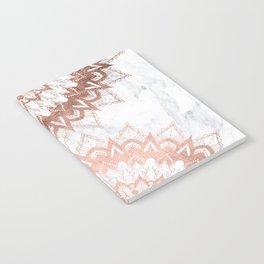 Modern chic rose gold floral mandala illustration on trendy white marble Notebook