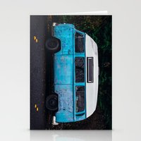 vw bus Stationery Cards featuring Vintage VW Bus Rusted  by Limitless Design