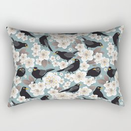 Waiting for the cherries I // Blackbirds blue background Rectangular Pillow