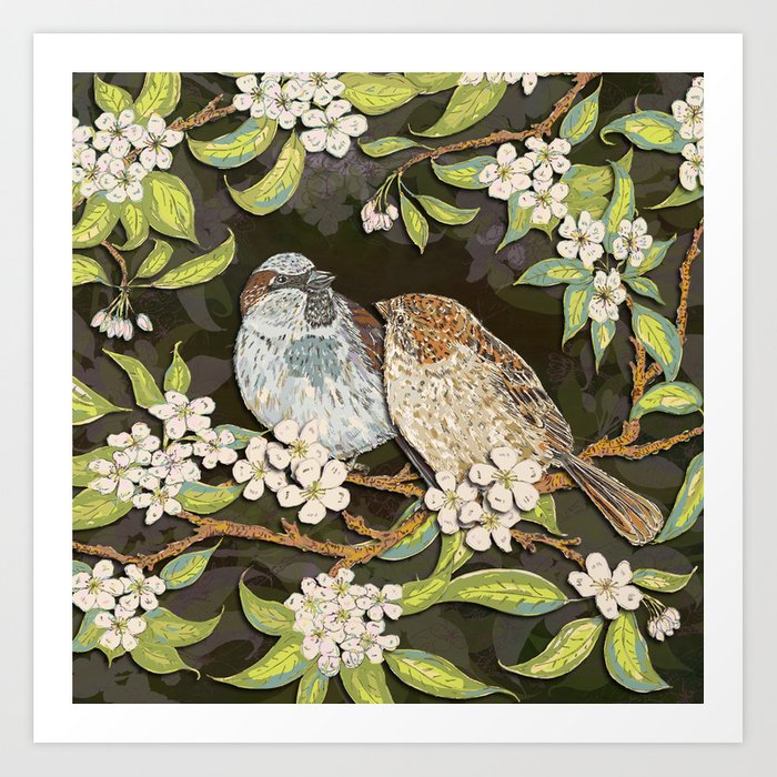 Sparrows in the Plum Tree Art Print