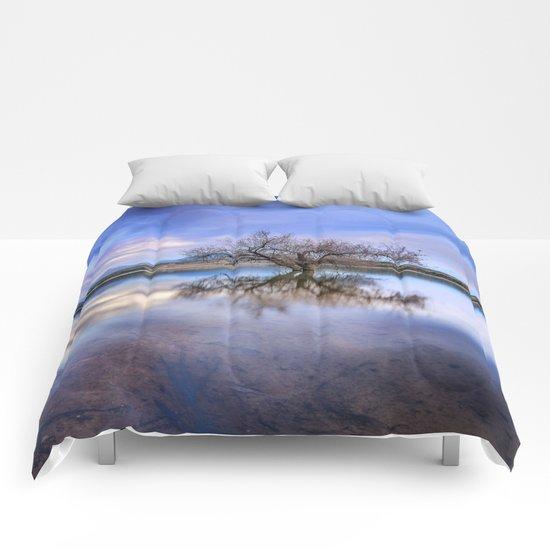 """Magic tree II"" Magic reflections at the lake. Comforters"